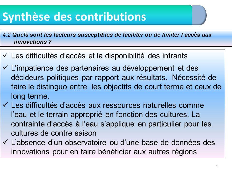 9 Synthèse des contributions Les difficultés daccès et la disponibilité des intrants Limpatience des partenaires au développement et des décideurs pol