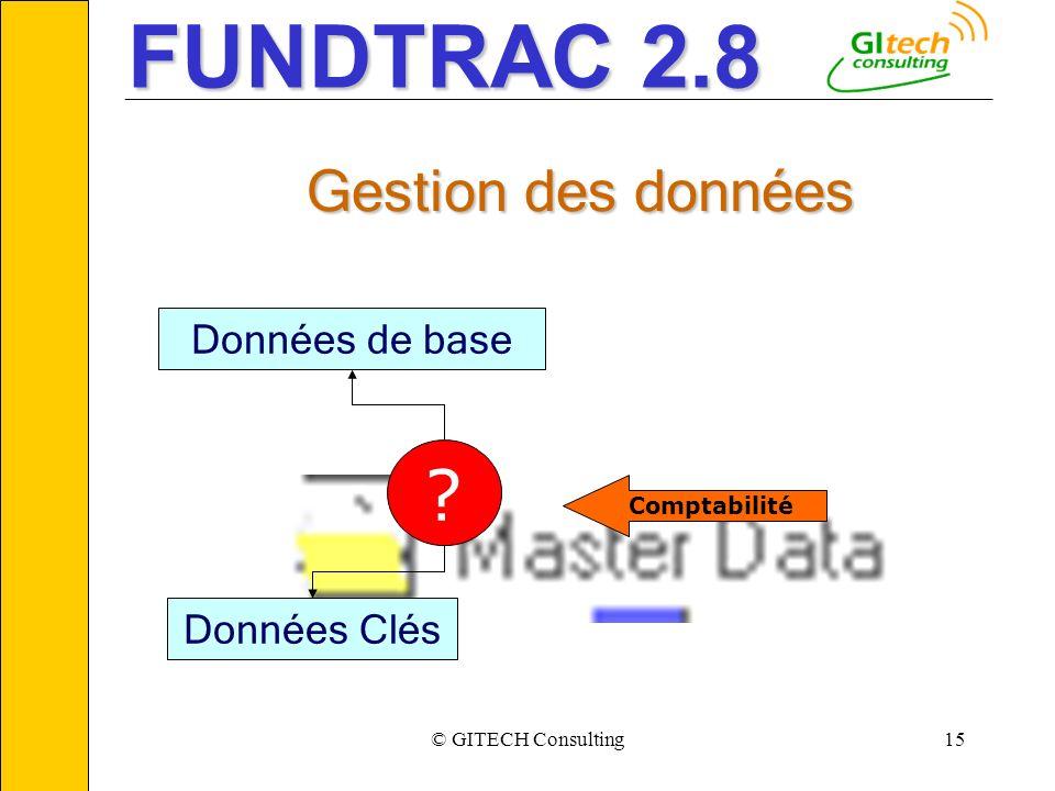 © GITECH Consulting15 ___________________________________________________________ Données de base ? Données Clés Comptabilité Gestion des données FUND