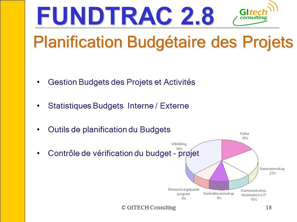 © GITECH Consulting18 ___________________________________________________________ Planification Budgétaire des Projets Gestion Budgets des Projets et