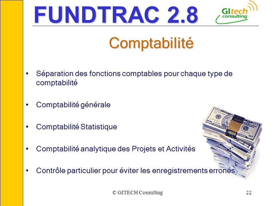 © GITECH Consulting22 ___________________________________________________________ Comptabilité Séparation des fonctions comptables pour chaque type de