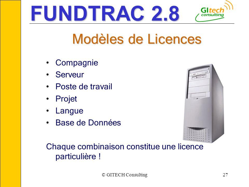 © GITECH Consulting27 ___________________________________________________________ Modèles de Licences Compagnie Serveur Poste de travail Projet Langue