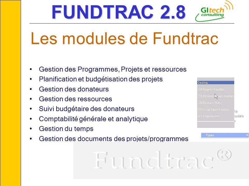 © GITECH Consulting7 Gestion des Programmes, Projets et ressources Planification et budgétisation des projets Gestion des donateurs Gestion des ressou