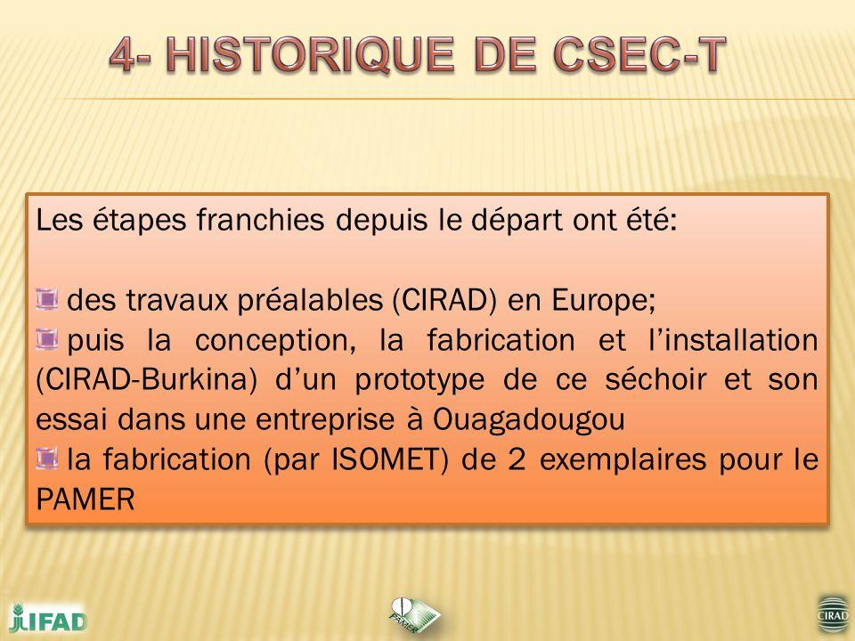 Les étapes franchies depuis le départ ont été: des travaux préalables (CIRAD) en Europe; puis la conception, la fabrication et linstallation (CIRAD-Bu