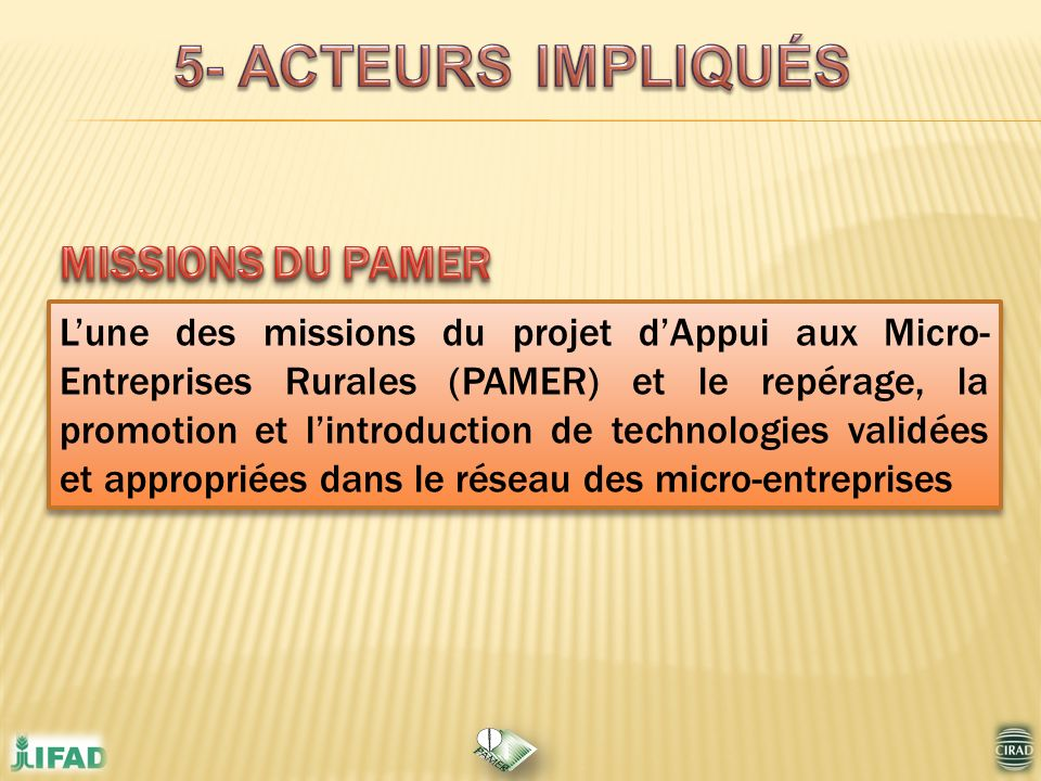 Lune des missions du projet dAppui aux Micro- Entreprises Rurales (PAMER) et le repérage, la promotion et lintroduction de technologies validées et ap