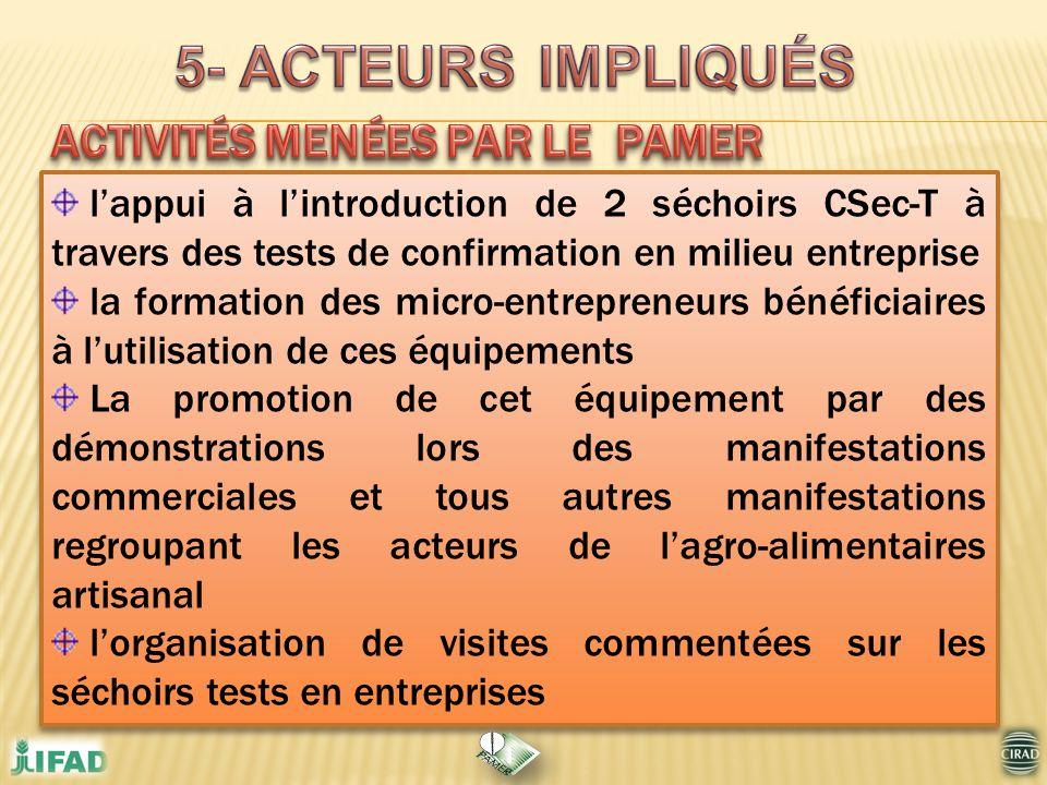 lappui à lintroduction de 2 séchoirs CSec-T à travers des tests de confirmation en milieu entreprise la formation des micro-entrepreneurs bénéficiaire