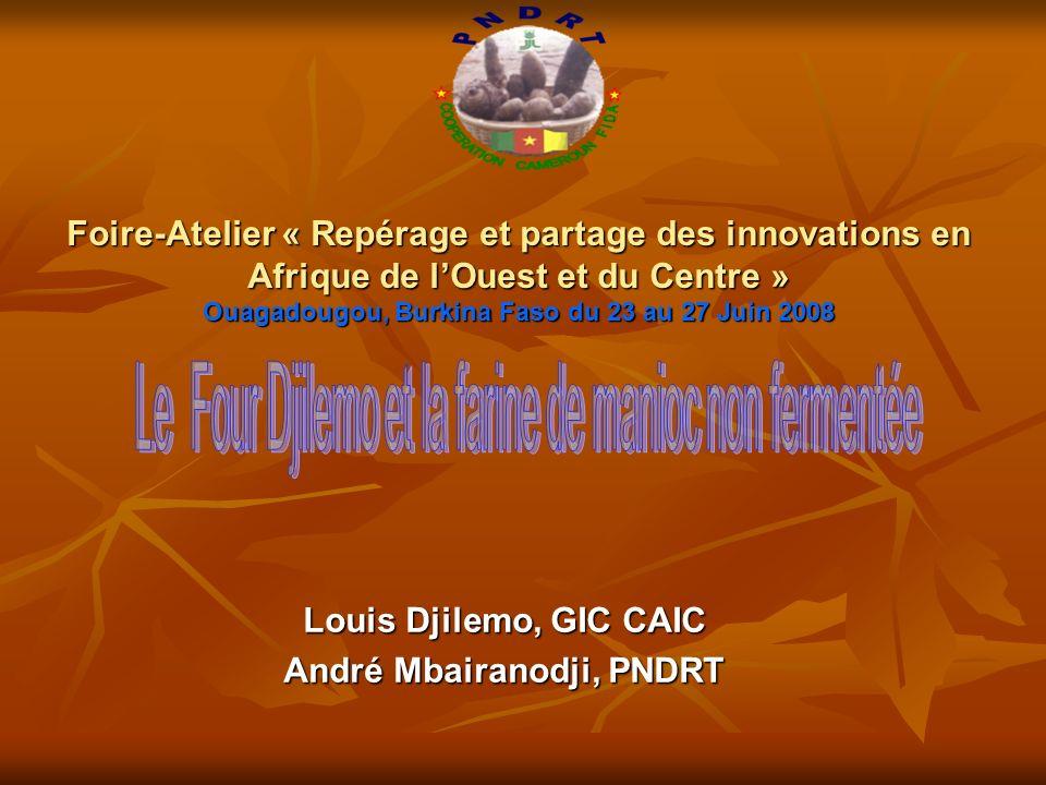 Foire-Atelier « Repérage et partage des innovations en Afrique de lOuest et du Centre » Ouagadougou, Burkina Faso du 23 au 27 Juin 2008 Louis Djilemo, GIC CAIC André Mbairanodji, PNDRT