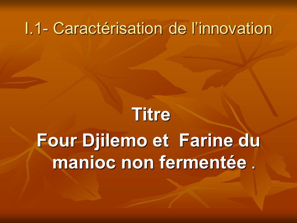 I.1- Caractérisation de linnovation Titre Titre Four Djilemo et Farine du manioc non fermentée.