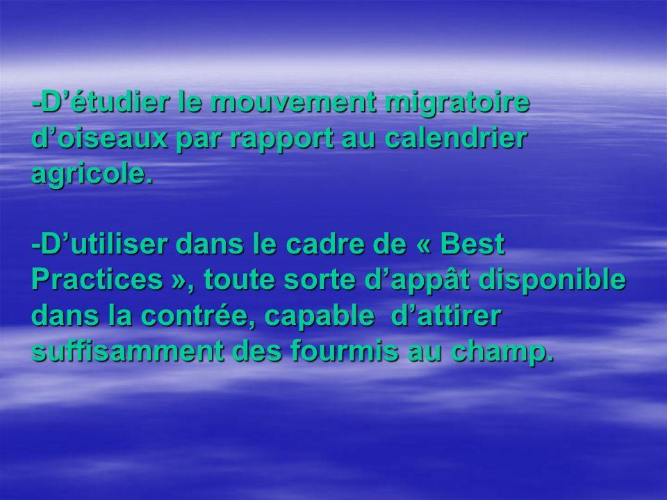 -Détudier le mouvement migratoire doiseaux par rapport au calendrier agricole.