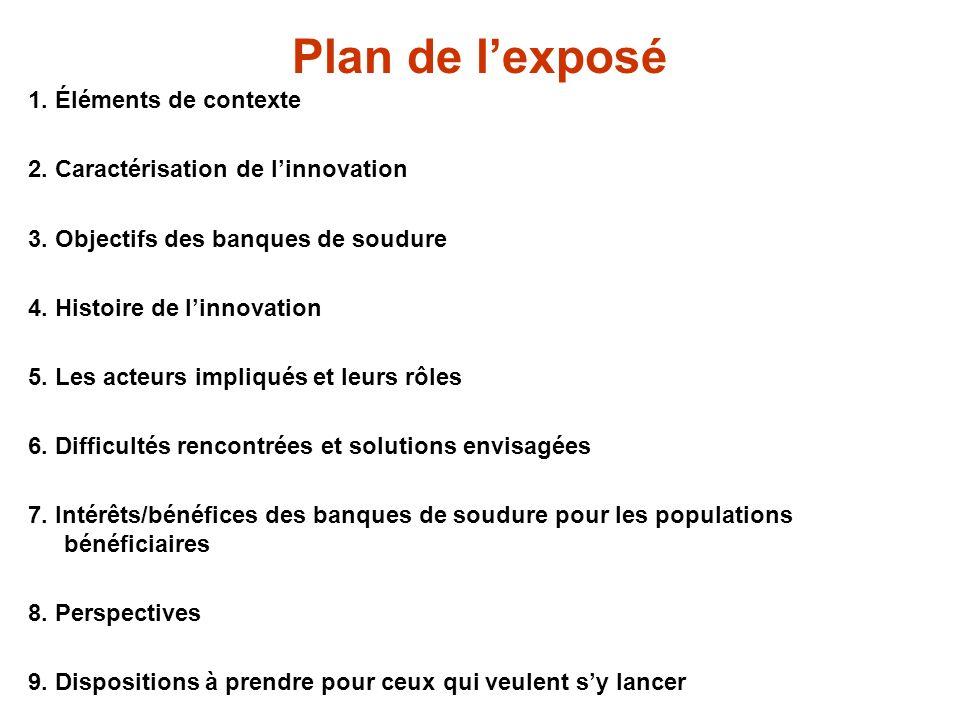Plan de lexposé 1.Éléments de contexte 2. Caractérisation de linnovation 3.