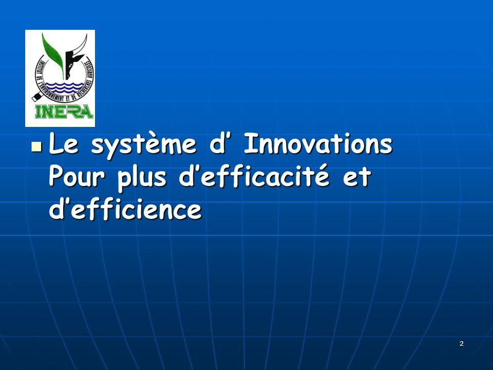 2 Le système d Innovations Pour plus defficacité et defficience Le système d Innovations Pour plus defficacité et defficience