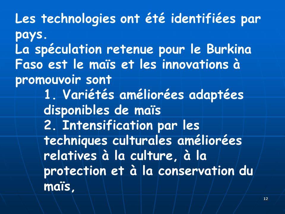 12 Les technologies ont été identifiées par pays. La spéculation retenue pour le Burkina Faso est le maïs et les innovations à promouvoir sont 1. Vari