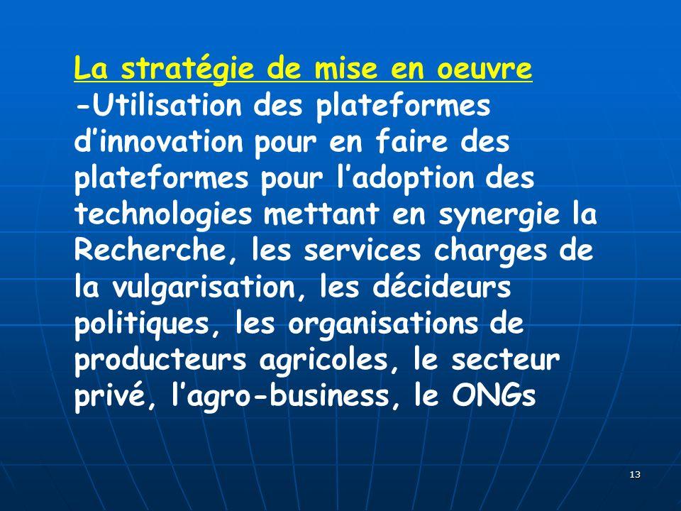 13 La stratégie de mise en oeuvre -Utilisation des plateformes dinnovation pour en faire des plateformes pour ladoption des technologies mettant en sy