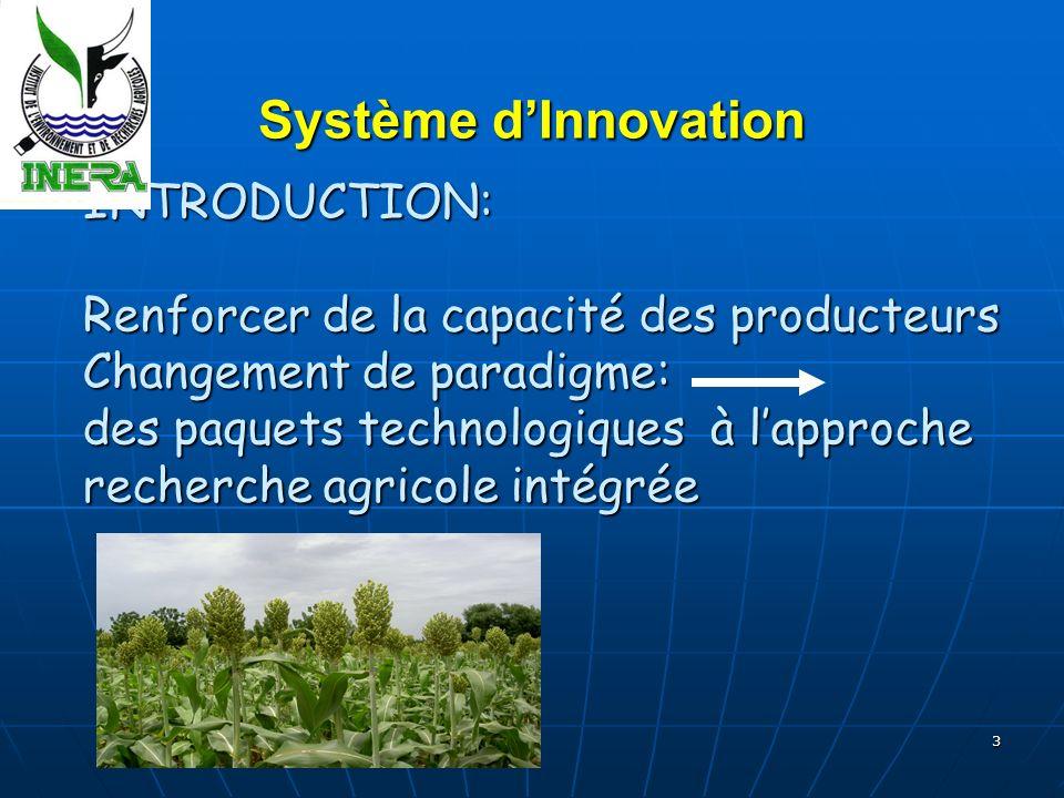 3 INTRODUCTION: Renforcer de la capacité des producteurs Changement de paradigme: des paquets technologiques à lapproche recherche agricole intégrée INTRODUCTION: Renforcer de la capacité des producteurs Changement de paradigme: des paquets technologiques à lapproche recherche agricole intégrée Système dInnovation