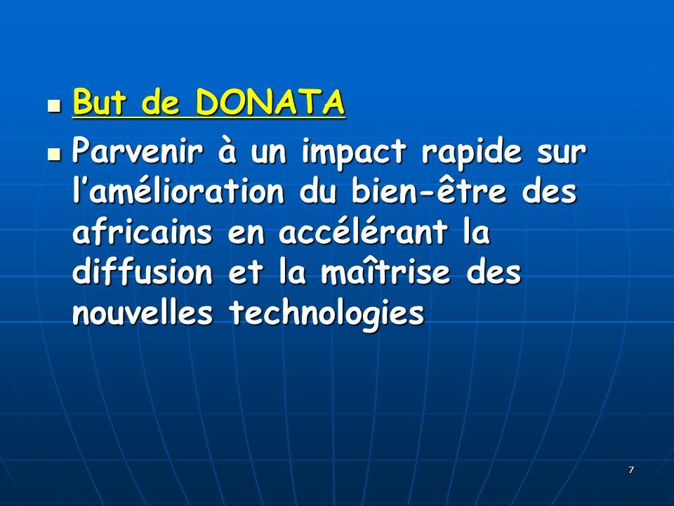 7 But de DONATA But de DONATA Parvenir à un impact rapide sur lamélioration du bien-être des africains en accélérant la diffusion et la maîtrise des nouvelles technologies Parvenir à un impact rapide sur lamélioration du bien-être des africains en accélérant la diffusion et la maîtrise des nouvelles technologies