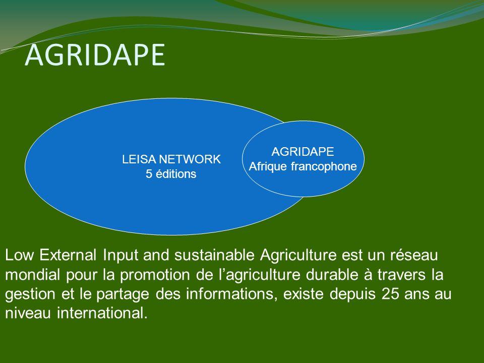 AGRIDAPE LEISA NETWORK 5 éditions AGRIDAPE Afrique francophone Low External Input and sustainable Agriculture est un réseau mondial pour la promotion de lagriculture durable à travers la gestion et le partage des informations, existe depuis 25 ans au niveau international.