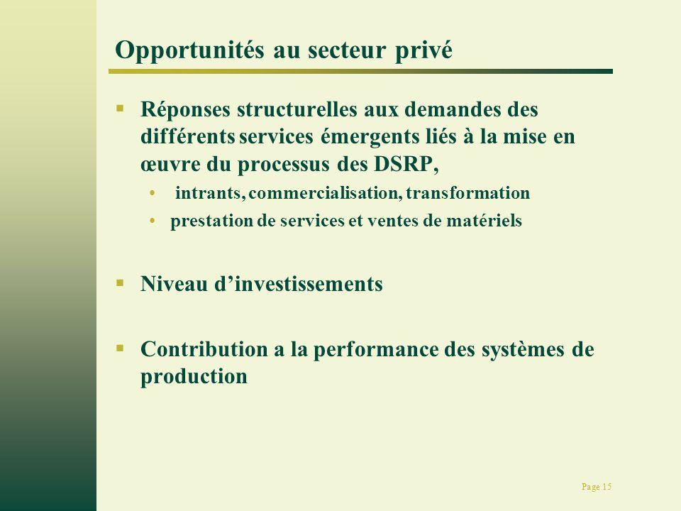 Page 15 Opportunités au secteur privé Réponses structurelles aux demandes des différents services émergents liés à la mise en œuvre du processus des DSRP, intrants, commercialisation, transformation prestation de services et ventes de matériels Niveau dinvestissements Contribution a la performance des systèmes de production