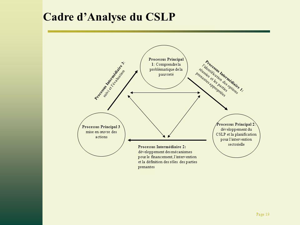 Page 19 Processus Principal 1: Comprendre la problématique de la pauvreté Processus Principal 2: développement du CSLP et la planification pour lintervention sectorielle Processus Principal 3 mise en œuvre des actions Processus Intermédiaire 2: développement des mécanismes pour le financement, lintervention et la définition des rôles des parties prenantes Processus Intermédiaire 3: suivi et lévaluation Processus Intermédiaire 1: lidentification des options réussies et les parties prenantes appropriées Cadre dAnalyse du CSLP