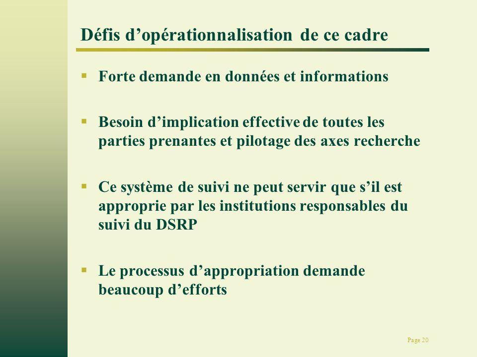 Page 20 Défis dopérationnalisation de ce cadre Forte demande en données et informations Besoin dimplication effective de toutes les parties prenantes