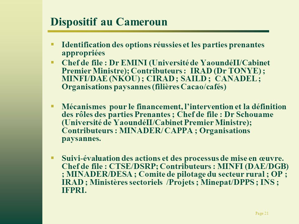Page 21 Dispositif au Cameroun Identification des options réussies et les parties prenantes appropriées Chef de file : Dr EMINI (Université de Yaoundé