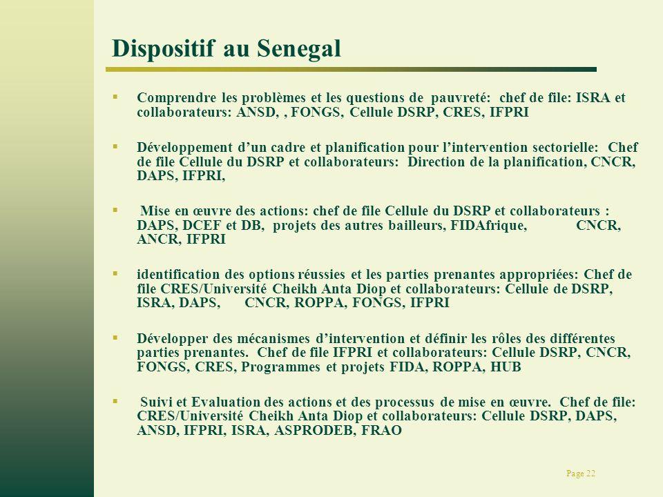 Page 22 Dispositif au Senegal Comprendre les problèmes et les questions de pauvreté: chef de file: ISRA et collaborateurs: ANSD,, FONGS, Cellule DSRP,