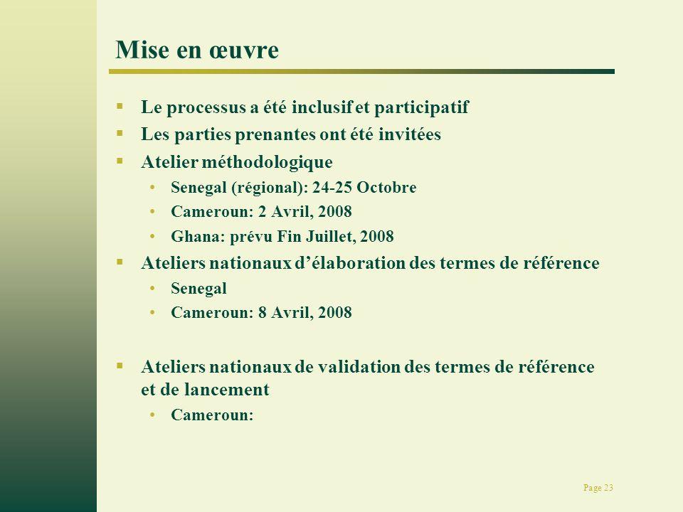 Page 23 Mise en œuvre Le processus a été inclusif et participatif Les parties prenantes ont été invitées Atelier méthodologique Senegal (régional): 24