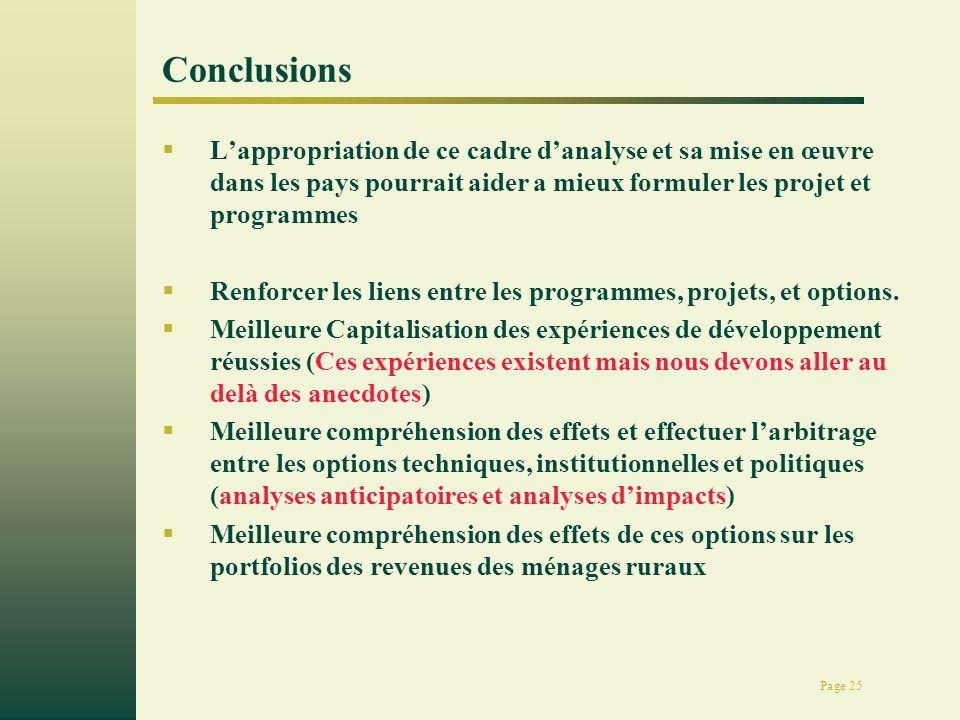 Page 25 Conclusions Lappropriation de ce cadre danalyse et sa mise en œuvre dans les pays pourrait aider a mieux formuler les projet et programmes Renforcer les liens entre les programmes, projets, et options.