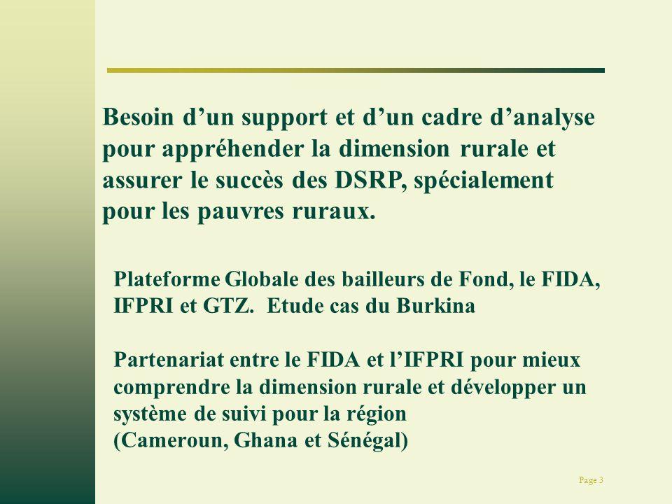 Page 3 Plateforme Globale des bailleurs de Fond, le FIDA, IFPRI et GTZ. Etude cas du Burkina Partenariat entre le FIDA et lIFPRI pour mieux comprendre