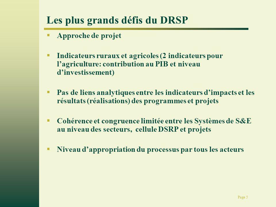Page 5 Les plus grands défis du DRSP Approche de projet Indicateurs ruraux et agricoles (2 indicateurs pour lagriculture: contribution au PIB et nivea