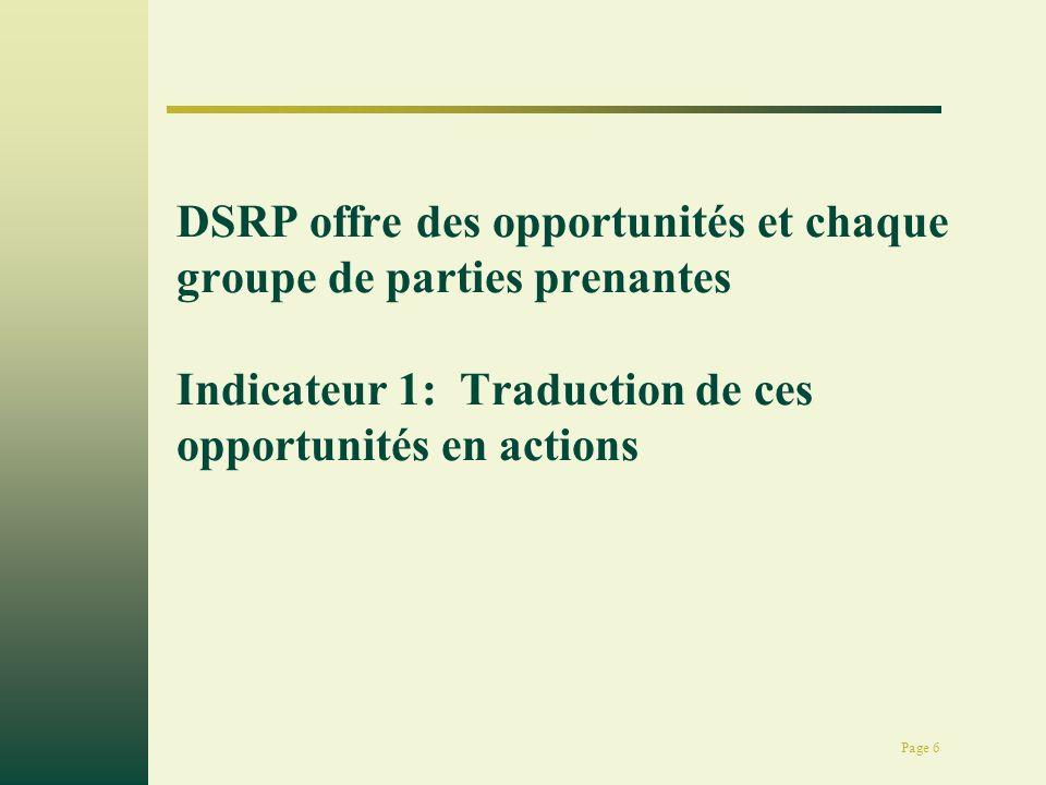 Page 17 Approche des DSRP Comprendre la problématique de la pauvreté développement du CSLP et la planification pour lintervention sectorielle mise en œuvre des actions Processus Intermédiaire 3: suivi et lévaluation