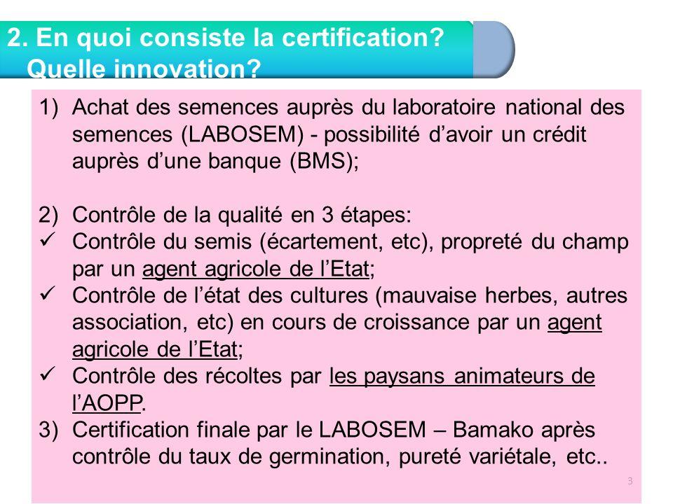 3 2. En quoi consiste la certification? Quelle innovation? 1)Achat des semences auprès du laboratoire national des semences (LABOSEM) - possibilité da