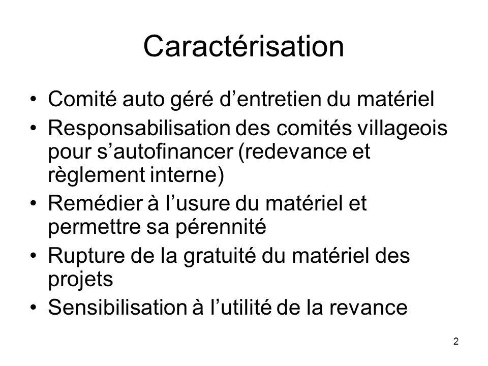 2 Caractérisation Comité auto géré dentretien du matériel Responsabilisation des comités villageois pour sautofinancer (redevance et règlement interne