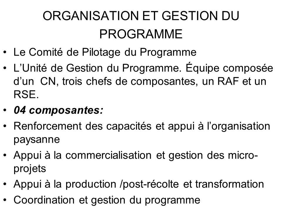 ORGANISATION ET GESTION DU PROGRAMME Cinq antennes régionales localisées dans 04 zones agro-écologiques : Bamenda, Bertoua, Douala, Ebolowa, et Ngaoundéré.