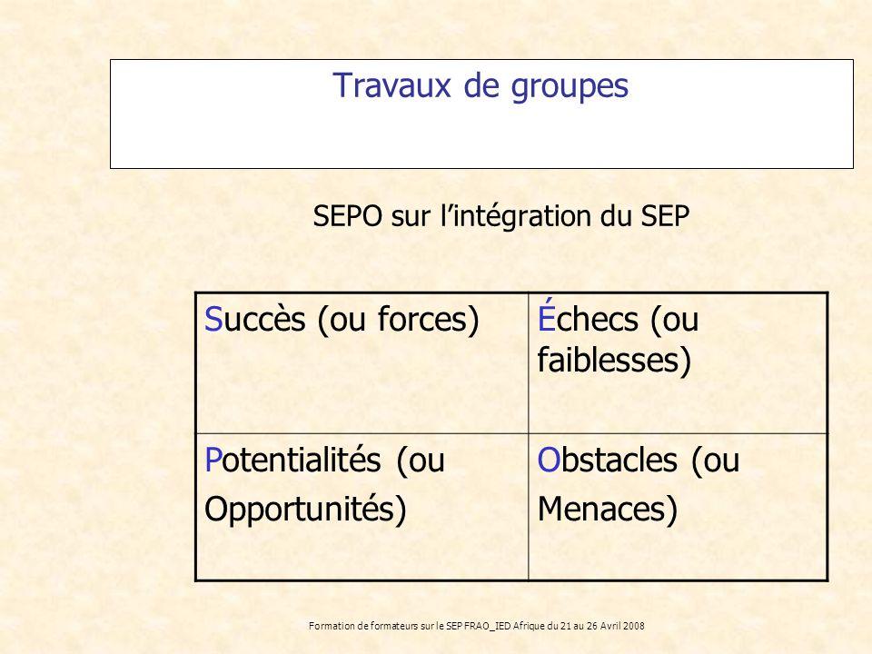 Formation de formateurs sur le SEP FRAO_IED Afrique du 21 au 26 Avril 2008 Travaux de groupes SEPO sur lintégration du SEP Succès (ou forces)Échecs (o