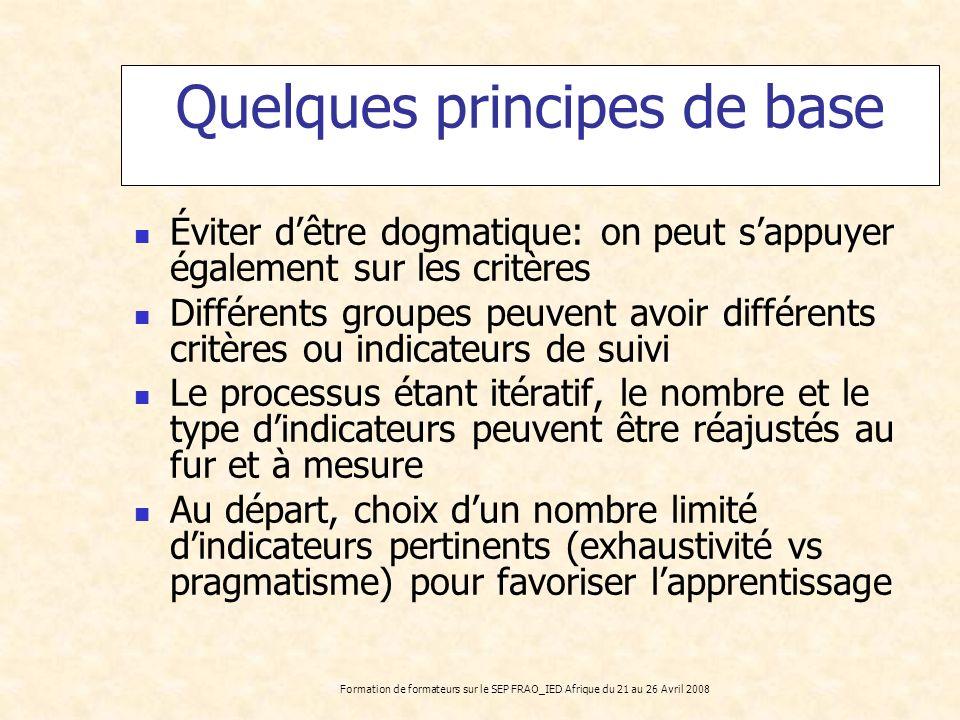 Formation de formateurs sur le SEP FRAO_IED Afrique du 21 au 26 Avril 2008 Quelques principes de base Éviter dêtre dogmatique: on peut sappuyer égalem