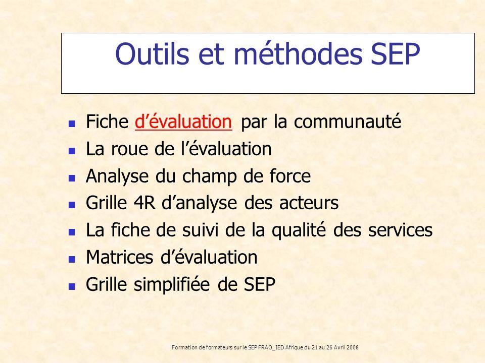Formation de formateurs sur le SEP FRAO_IED Afrique du 21 au 26 Avril 2008 Outils et méthodes SEP Fiche dévaluation par la communautédévaluation La ro