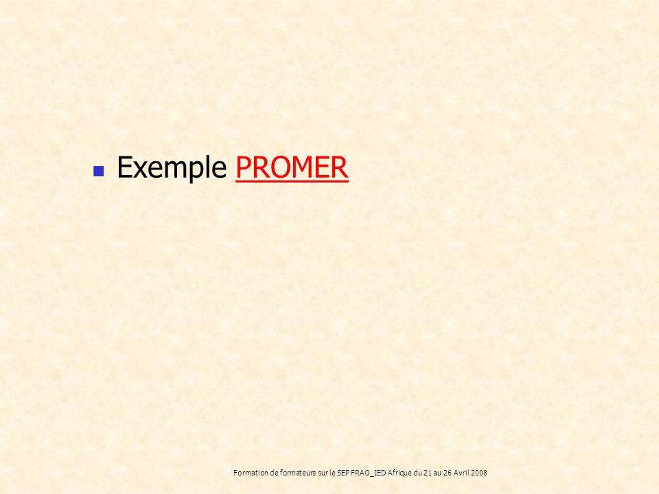 Formation de formateurs sur le SEP FRAO_IED Afrique du 21 au 26 Avril 2008 Exemple PROMERPROMER