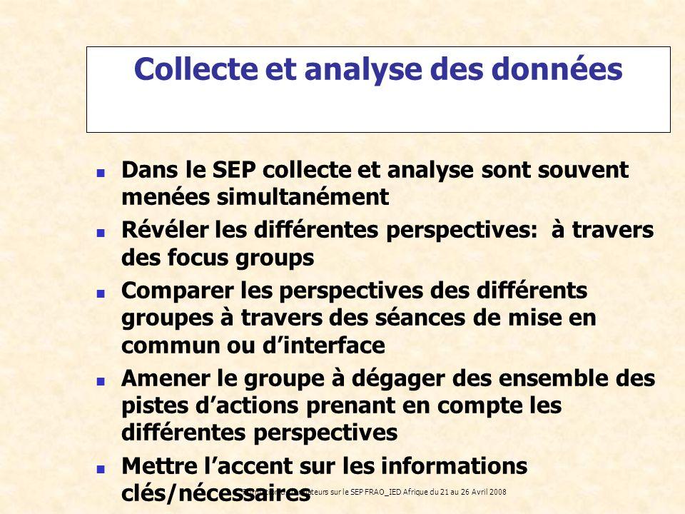 Formation de formateurs sur le SEP FRAO_IED Afrique du 21 au 26 Avril 2008 Dans le SEP collecte et analyse sont souvent menées simultanément Révéler l