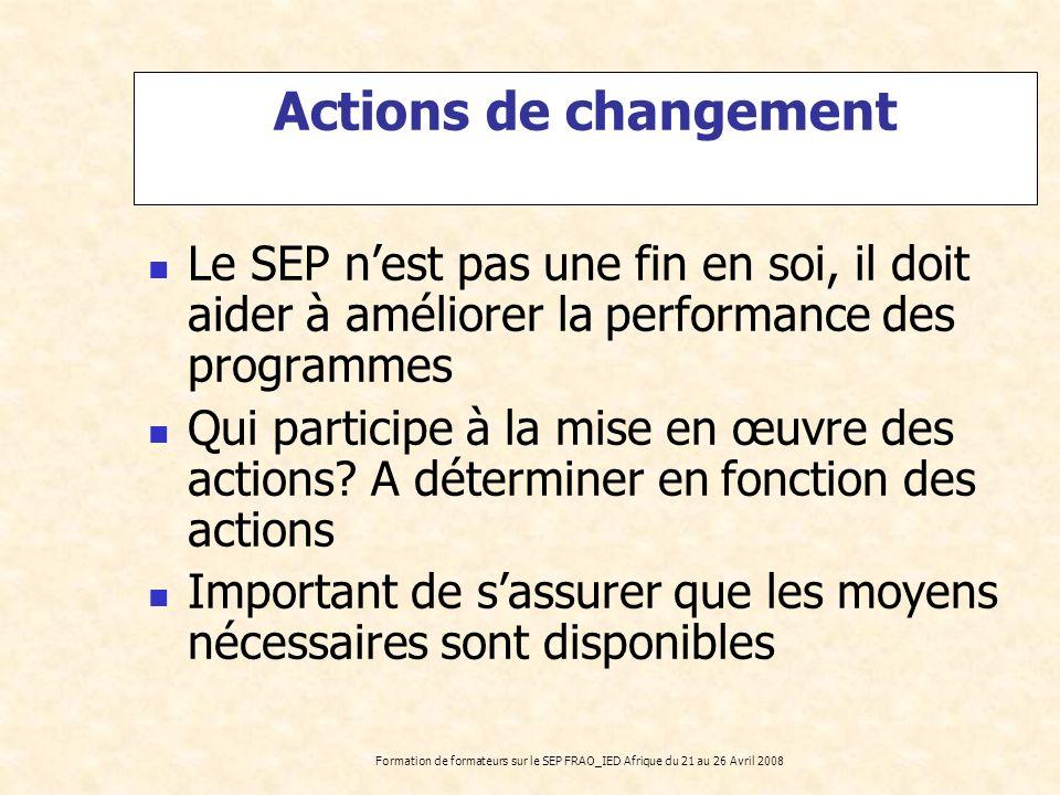 Formation de formateurs sur le SEP FRAO_IED Afrique du 21 au 26 Avril 2008 Actions de changement Le SEP nest pas une fin en soi, il doit aider à améli