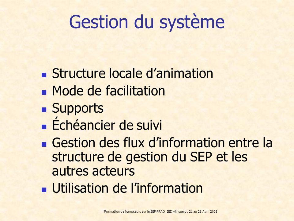 Formation de formateurs sur le SEP FRAO_IED Afrique du 21 au 26 Avril 2008 Gestion du système Structure locale danimation Mode de facilitation Support