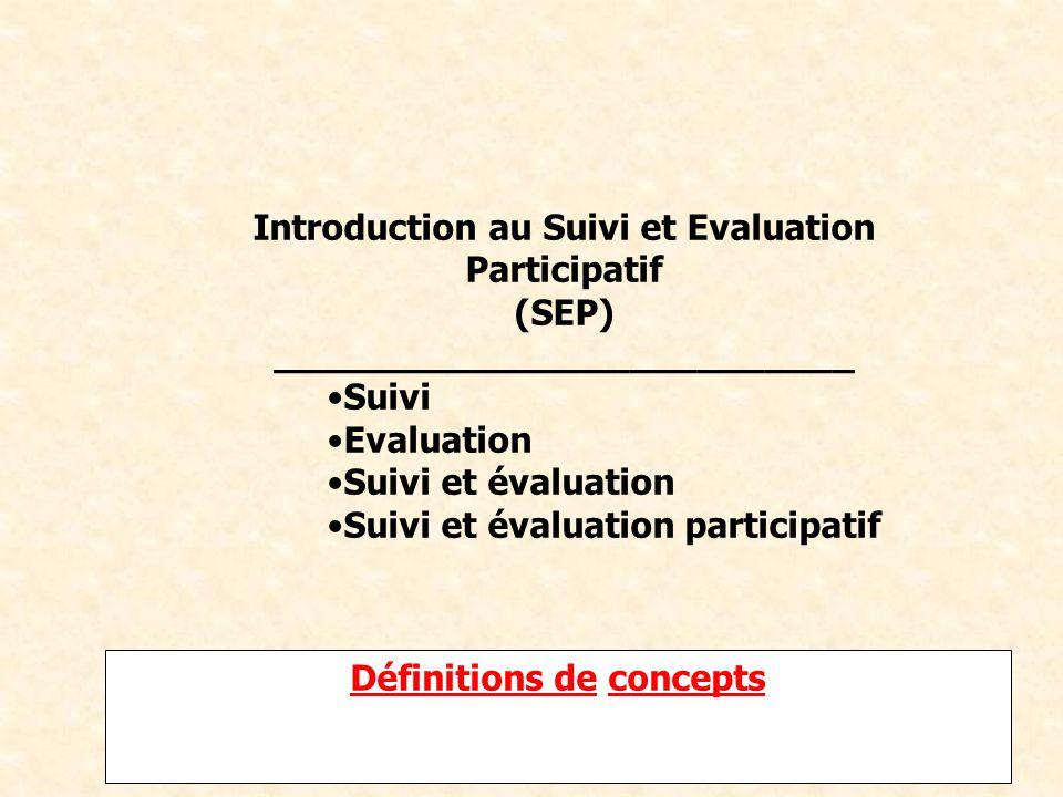 Formation de formateurs sur le SEP FRAO_IED Afrique du 21 au 26 Avril 2008 Définitions deDéfinitions de conceptsconcepts Introduction au Suivi et Eval