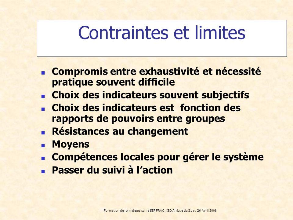 Formation de formateurs sur le SEP FRAO_IED Afrique du 21 au 26 Avril 2008 Contraintes et limites Compromis entre exhaustivité et nécessité pratique s