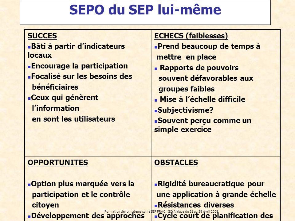 Formation de formateurs sur le SEP FRAO_IED Afrique du 21 au 26 Avril 2008 SEPO du SEP lui-même SUCCES Bâti à partir dindicateurs locaux Encourage la