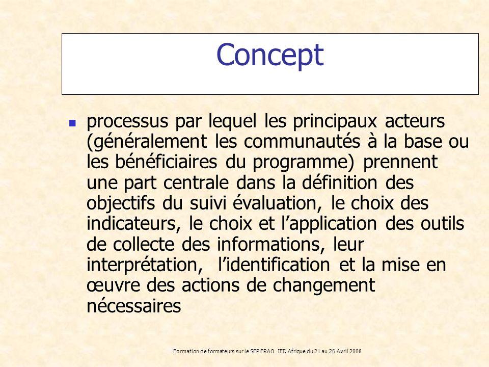 Formation de formateurs sur le SEP FRAO_IED Afrique du 21 au 26 Avril 2008 Concept processus par lequel les principaux acteurs (généralement les commu
