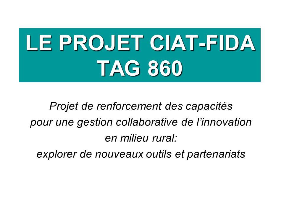 LE PROJET CIAT-FIDA TAG 860 Projet de renforcement des capacités pour une gestion collaborative de linnovation en milieu rural: explorer de nouveaux outils et partenariats