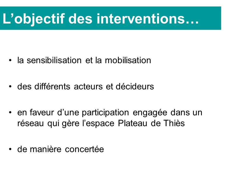 la sensibilisation et la mobilisation des différents acteurs et décideurs en faveur dune participation engagée dans un réseau qui gère lespace Plateau de Thiès de manière concertée Lobjectif des interventions…