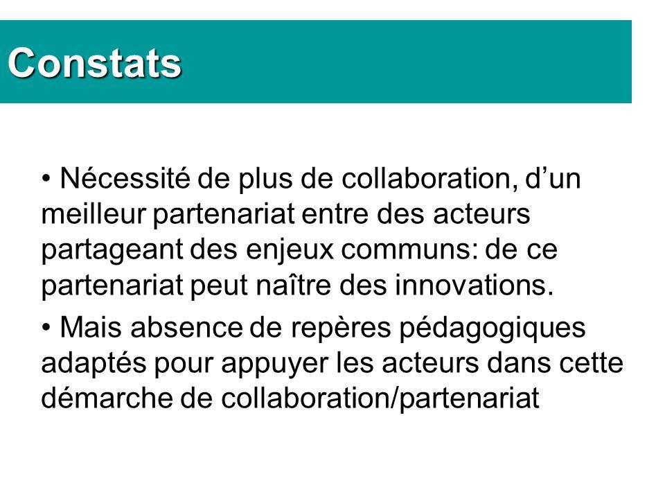 Nécessité de plus de collaboration, dun meilleur partenariat entre des acteurs partageant des enjeux communs: de ce partenariat peut naître des innovations.