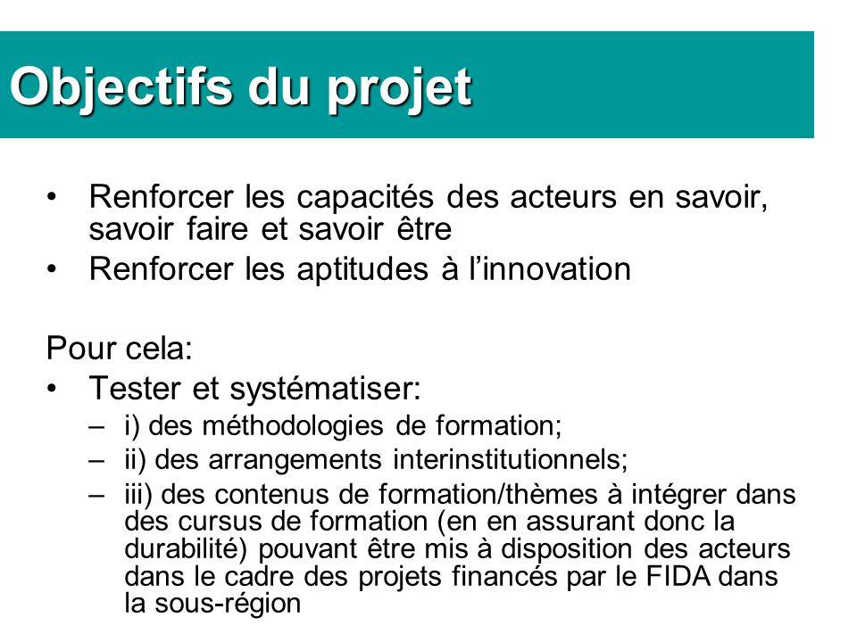 Objectifs du projet Renforcer les capacités des acteurs en savoir, savoir faire et savoir être Renforcer les aptitudes à linnovation Pour cela: Tester et systématiser: –i) des méthodologies de formation; –ii) des arrangements interinstitutionnels; –iii) des contenus de formation/thèmes à intégrer dans des cursus de formation (en en assurant donc la durabilité) pouvant être mis à disposition des acteurs dans le cadre des projets financés par le FIDA dans la sous-région
