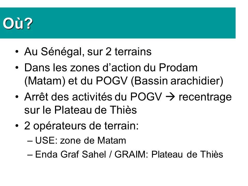 Où? Au Sénégal, sur 2 terrains Dans les zones daction du Prodam (Matam) et du POGV (Bassin arachidier) Arrêt des activités du POGV recentrage sur le P