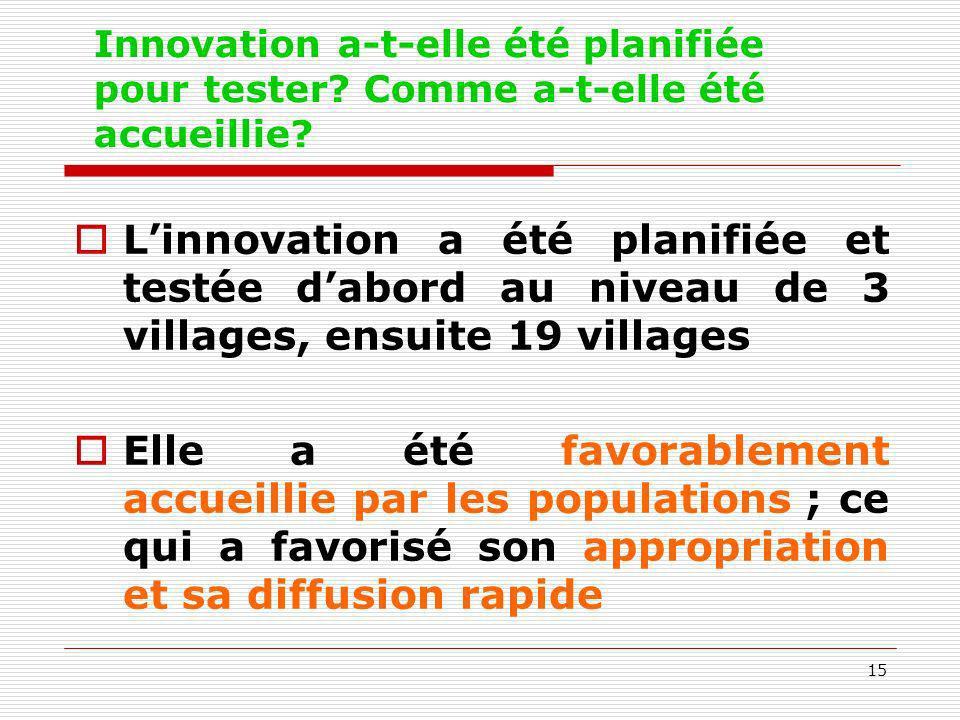 15 Innovation a-t-elle été planifiée pour tester? Comme a-t-elle été accueillie? Linnovation a été planifiée et testée dabord au niveau de 3 villages,