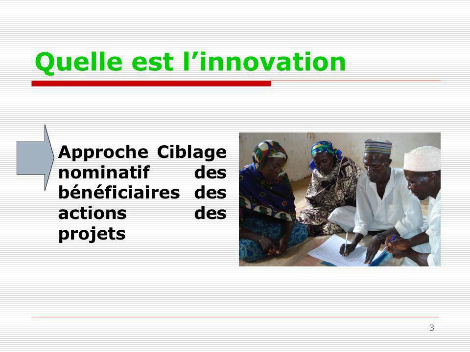 3 Quelle est linnovation Approche Ciblage nominatif des bénéficiaires des actions des projets